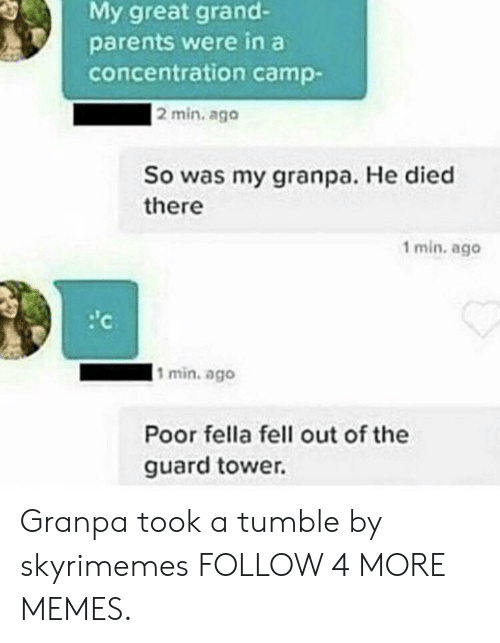 concentration camp: My great grand-  parents were in a  concentration camp-  2 min. ago  So was my granpa. He died  there  1 min. ago  c  l1 min. ago  Poor fella fell out of the  guard tower. Granpa took a tumble by skyrimemes FOLLOW 4 MORE MEMES.