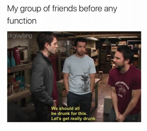Dank, Drunk, and Friends: My group of friends before any  function  drgrayfang  e should all  be drunk for this.  Let's get really drunk.