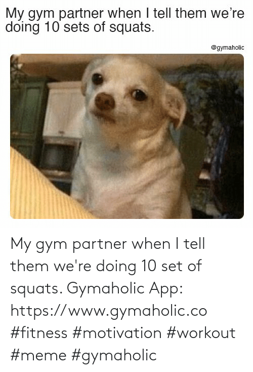 Squats: My gym partner when I tell them we're doing 10 set of squats.  Gymaholic App: https://www.gymaholic.co  #fitness #motivation #workout #meme #gymaholic