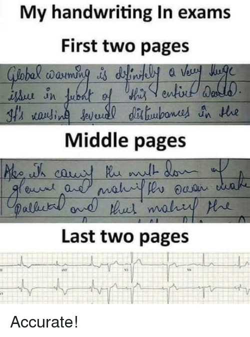 handwriting: My handwriting In exams  First two pages  Middle pages  Last two pages Accurate!