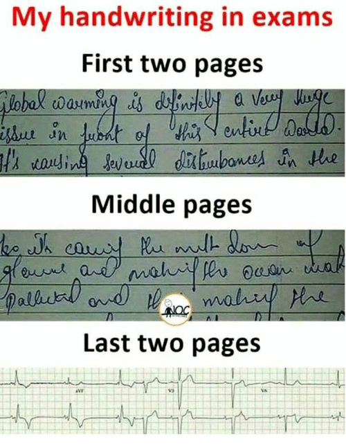 handwriting: My handwriting in exams  First two pages  Middle pages  Last two pages  V3