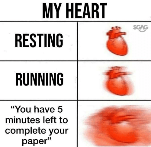 "Resting: MY HEART  SGAG  RESTING  RUNNING  ""You have 5  minutes left to  complete your  раper"""
