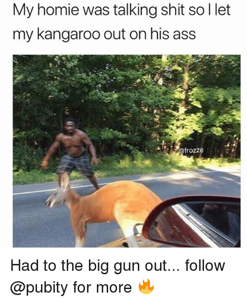 Ass, Homie, and Memes: My homie was talking shit so I let  my kangaroo out on his ass  frozze Had to the big gun out... follow @pubity for more 🔥