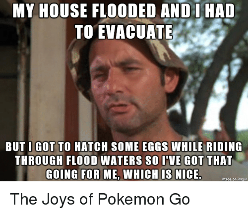 Pokemon, House, and Water: MY HOUSE FLOODED AND I HAD  TO EVACUATE  BUT I GOT TO HATCH soME EGGS WHILE RIDING  THROUGH FLOOD WATERS so I'VE GOT THAT  GOING FOR ME, WHICH IS NICE.  made on inngur The Joys of Pokemon Go