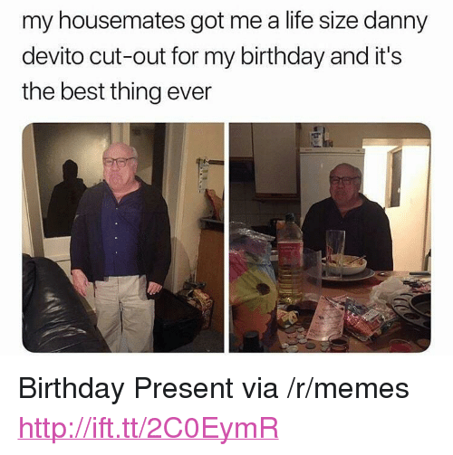 """life size: my housemates got me a life size danny  devito cut-out for my birthday and it's  the best thing ever <p>Birthday Present via /r/memes <a href=""""http://ift.tt/2C0EymR"""">http://ift.tt/2C0EymR</a></p>"""