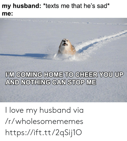 I Love My Husband: my husband: *texts me that he's sad*  me:  PM COMING HOME TO CHEER YOU UP  AND NOTHING CAN STOP ME I love my husband via /r/wholesomememes https://ift.tt/2qSij1O