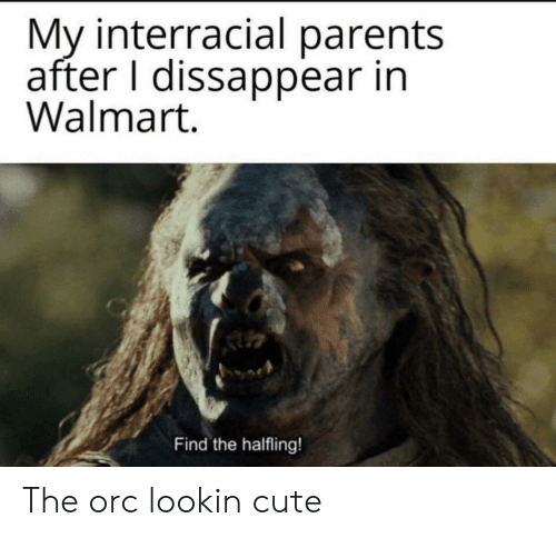Interracial: My interracial parents  after I dissappear in  Walmart.  Find the halfling! The orc lookin cute
