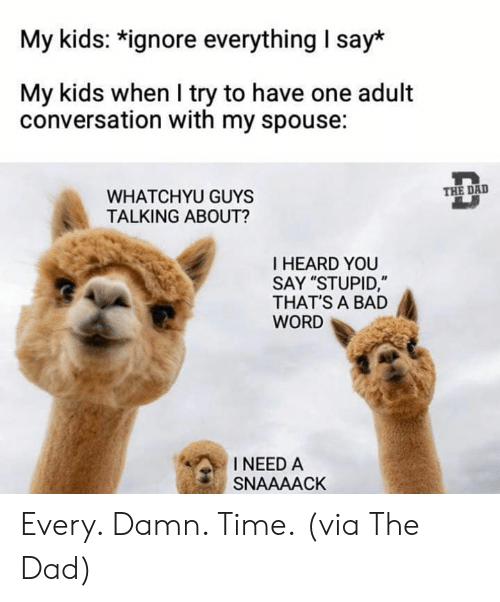 "I Heard You: My kids: *ignore everything I say*  My kids when I try to have one adult  conversation with my spouse:  THE DAD  WHATCHYU GUYS  TALKING ABOUT?  I HEARD YOU  SAY ""STUPID,""  THAT'S A BAD  WORD  INEED A  SNAAAACK Every. Damn. Time.  (via The Dad)"