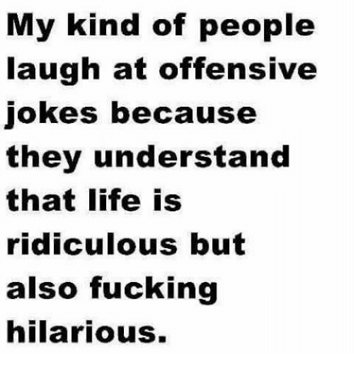 Offensive Joke: My kind of people  laugh at offensive  Jokes because  they understand  that life is  ridiculous but  also fucking  hilarious.