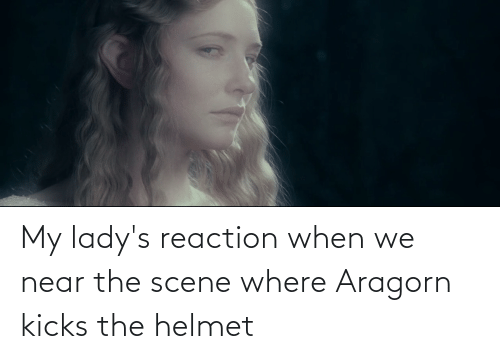 helmet: My lady's reaction when we near the scene where Aragorn kicks the helmet
