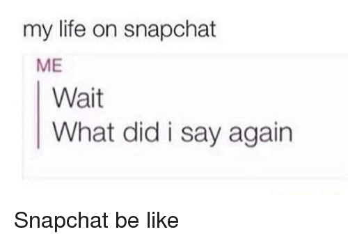 Be Like, Life, and Snapchat: my life on snapchat  ME  Wait  What did i say again