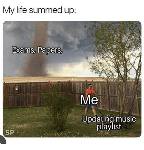 Summed Up: My life summed up:  Exams, Papers,  Me  Updating music  playlist  SP