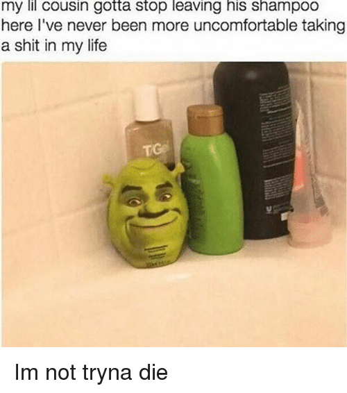 Dank Memes: my lil cousin gotta Stop leaving his Shampoo  here I've never been more uncomfortable taking  a shit in my life Im not tryna die