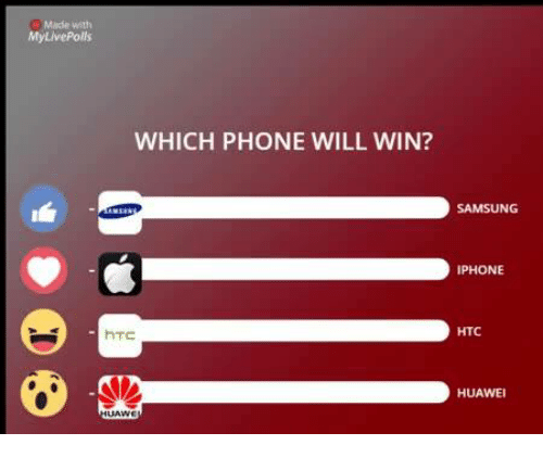 Iphone, Memes, and Phone: My LivePolls  WHICH PHONE WILL WIN?  hTC  SAMSUNG  IPHONE  HTC  HUAWEI