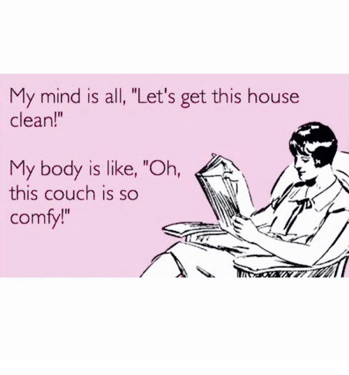 "House Cleaning: My mind is all, ""Let's get this house  clean!""  My body is like, ""Oh,  this couch is so  comfy!"