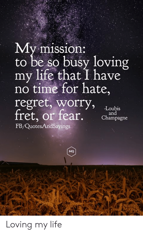 Champagne: My mission:  to be so busy loving  my life that I have  no time for hate,  regret, worry,  fret, or fear.  Loubis  and  Champagne  FB/QuotesAndSayings  MQ Loving my life