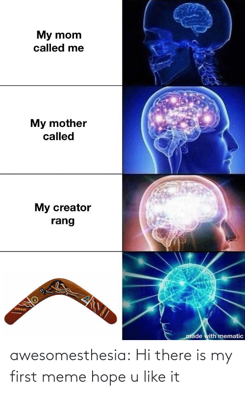 First Meme: My mom  called me  My mother  called  My creator  rang  ఫా  made with mematic awesomesthesia:  Hi there is my first meme hope u like it