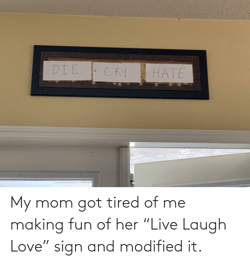 """tired: My mom got tired of me making fun of her """"Live Laugh Love"""" sign and modified it."""