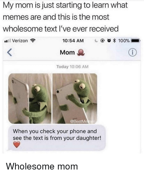 What Memes: My mom is just starting to learn what  memes are and this is the most  wholesome text l've ever received  #811 Verizon  10:54 AM  O * 100%-  Mom  Today 10:06 AM  @BestMe  When you check your phone and  see the text is from your daughter! Wholesome mom