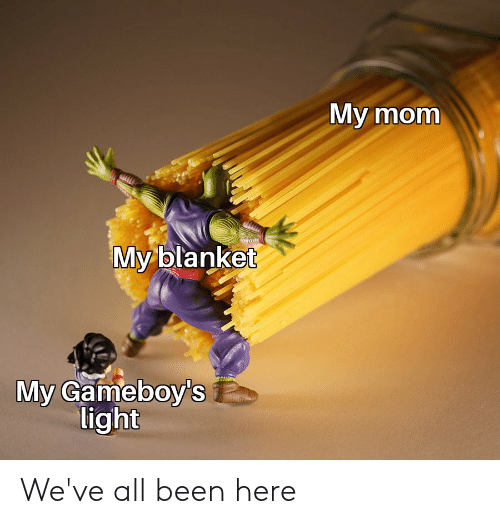 gameboys: My mom  My blanket  My Gameboy's  light We've all been here