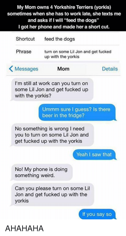 "Phone: My Mom owns 4 Yorkshire Terriers (yorkis)  sometimes when she has to work late, she texts me  and asks if I will ""feed the dogs""  I got her phone and made her a short cut.  Shortcut  feed the dogs  Phrase  turn on some Lil Jon and get fucked  up with the yorkis  K Messages  Mom  Details  I'm still at work can you turn on  some Lil Jon and get fucked up  with the yorkis?  Ummm sure I guess? Is there  beer in the fridge?  No something is wrong need  you to turn on some Lil Jon and  get fucked up with the yorkis  Yeah I saw that  No! My phone is doing  something weird.  Can you please turn on some Lil  Jon and get fucked up with the  yorkis  If you say so AHAHAHA"