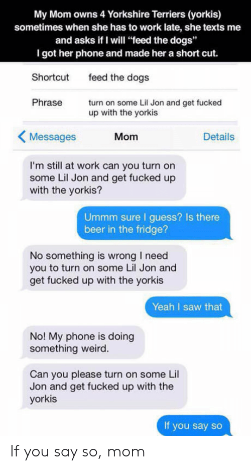 """Lil Jon: My Mom owns 4 Yorkshire Terriers (yorkis)  sometimes when she has to work late, she texts me  and asks if I will """"feed the dogs""""  I got her phone and made her a short cut.  Shortcut  Phrase  feed the dogs  turn on some Lil Jon and get fucked  up with the yorkis  Messages  Mom  Details  I'm still at work can you turn on  some Lil Jon and get fucked up  with the yorkis?  Ummm sure I guess? Is there  beer in the fridge?  No something is wrong I need  you to turn on some Lil Jon and  get fucked up with the yorkis  Yeah I saw that  No! My phone is doing  something weird.  Can you please turn on some Lil  Jon and get fucked up with the  yorkis  If you say so If you say so, mom"""