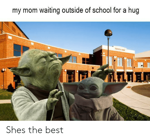 North: my mom waiting outside of school for a hug  NORTH SI  iLFLTIA Shes the best