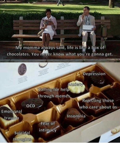 Life, Memes, and Depression: My momma always said, life is like a box of  chocolates. You never know what you're gonna get.  Depression  nxiety  Calling for help  through memes  Rejecting those  who care about us  OCD  Emotional  Insomnia  trauma  Fear of  intimacy  Suicidal