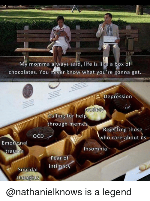 Life, Memes, and Depression: My momma always said, life is lilse a box of  chocolates. You never know what you're gonna get  Depression  nxiety  Calling for help  hrough memes  Rejecting those  who care about us  OCD  Emotional  Insomnia  trauma  Fear o  intimacy  Suicidal  ughts @nathanielknows is a legend