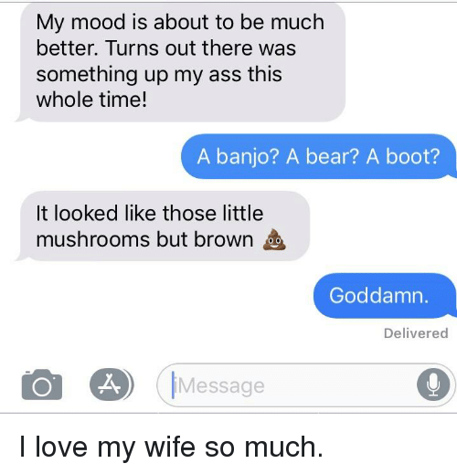 Ass, Love, and Mood: My mood is about to be much  better. Turns out there was  something up my ass this  whole time!  A banjo? A bear? A boot?  It looked like those little  mushrooms but brown  Goddamn.  Delivered  IMessage