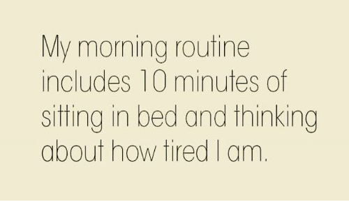 morning routine: My morning routine  includes 10 minutes of  siting in bed and thinking  about how tired I am