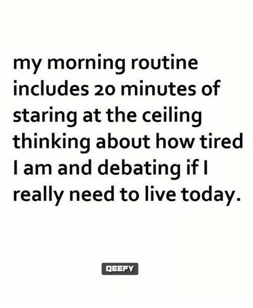 My Mornings: my morning routine  includes 20 minutes of  staring at the ceiling  thinking about how tired  am and debating if I  really need to live today.  GEEFY