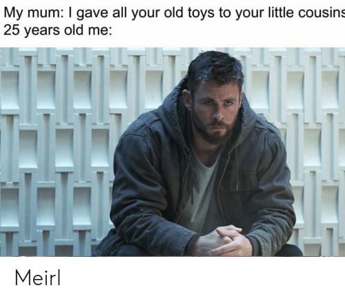 25 Years Old: My mum: I gave all your old toys to your little cousins  25 years old me:  T11 Meirl