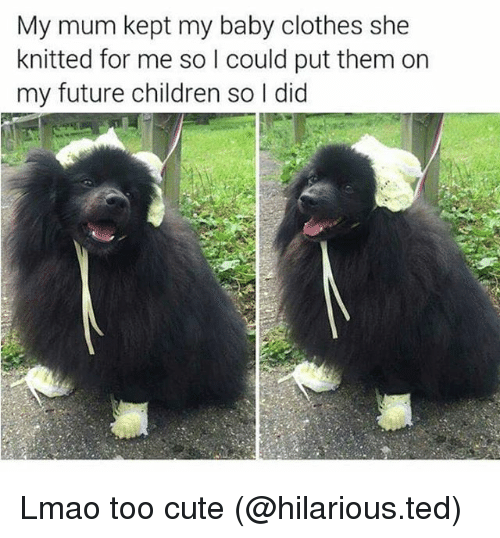 Children, Clothes, and Cute: My mum kept my baby clothes she  knitted for me so I could put them on  my future children so I did Lmao too cute (@hilarious.ted)