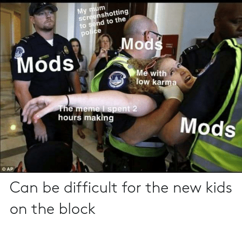 new kids on the block: My mum  Screenshotting  to send to the  police  Mods  Mods  Me with  low karma  The meme I spent 2  hours making  Mods  © AP Can be difficult for the new kids on the block