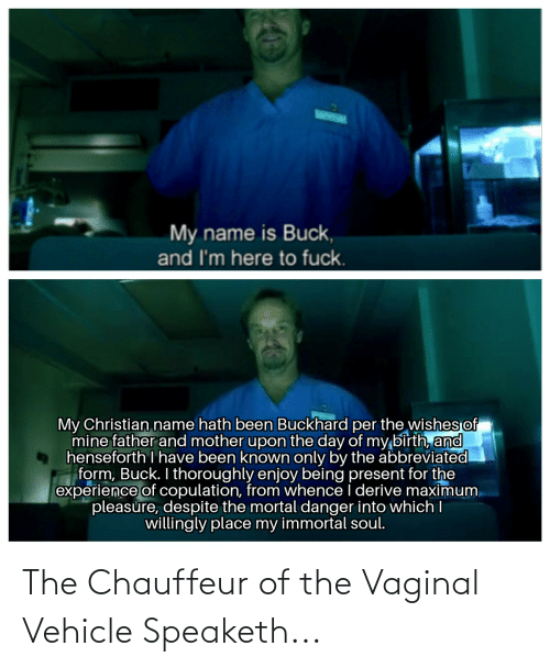 chauffeur: My name is Buck,  and I'm here to fuck.  My Christian name hath been Buckhard per the wishes of  mine father and mother upon the day of my birth, and  henseforth I have been known only by the abbreviated  form, Buck. I thoroughly enjoy being present for the  experience of copulation, from whence I derive maximum.  pleasure, despite the mortal danger into which I  willingly place my immortal soul. The Chauffeur of the Vaginal Vehicle Speaketh...