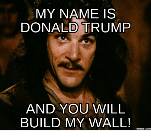 Donald Trump And The Wall: MY NAME IS  DONALD TRUMP  AND YOU WILL  BUILD MY WALL!  memes.com