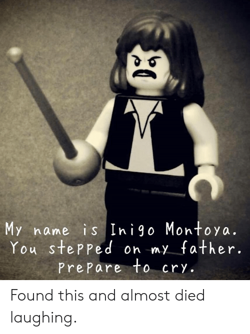 Almost Died: My name is Inigo Montoya.  You stePPed on my father.  PrePare to cry. Found this and almost died laughing.