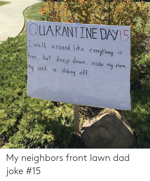 Dad Joke: My neighbors front lawn dad joke #15