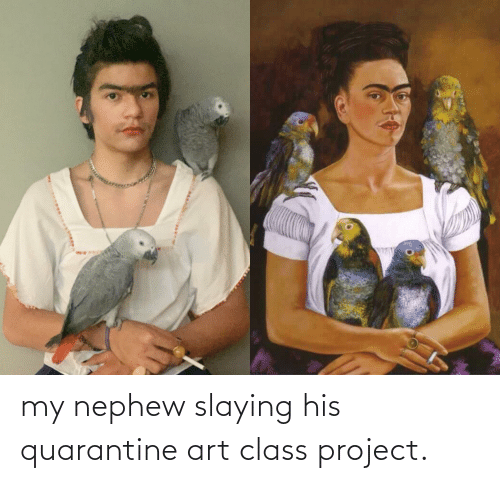 slaying: my nephew slaying his quarantine art class project.