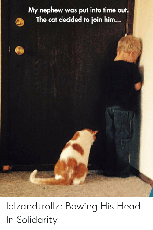bowing: My nephew  The cat decided to join him...  was put into time out. lolzandtrollz:  Bowing His Head In Solidarity