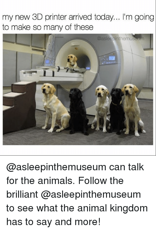 3d printers: my new 3D printer arrived today  l'm going  to make so many of these  @asleepinthemuseum @asleepinthemuseum can talk for the animals. Follow the brilliant @asleepinthemuseum to see what the animal kingdom has to say and more!