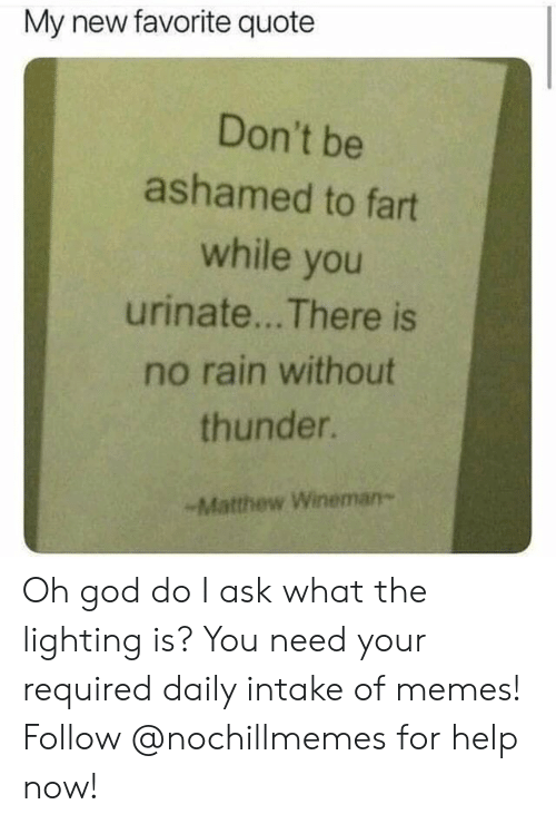 lighting: My new favorite quote  Don't be  ashamed to fart  while you  urinate... There is  no rain without  thunder.  -Matthew Wineman- Oh god do I ask what the lighting is?  You need your required daily intake of memes! Follow @nochillmemes for help now!