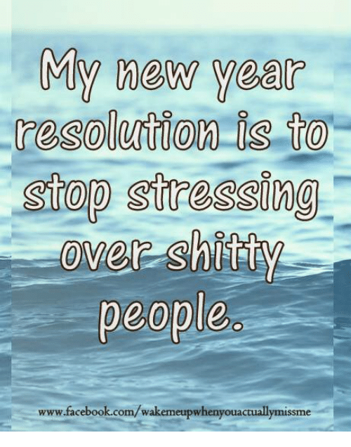 Memes, New Year's Resolutions, and 🤖: My new years  resolution 13 to  Stop stressing  over Shitty  people  www.facebook.com/wakemeupwhenyouactuallymissme