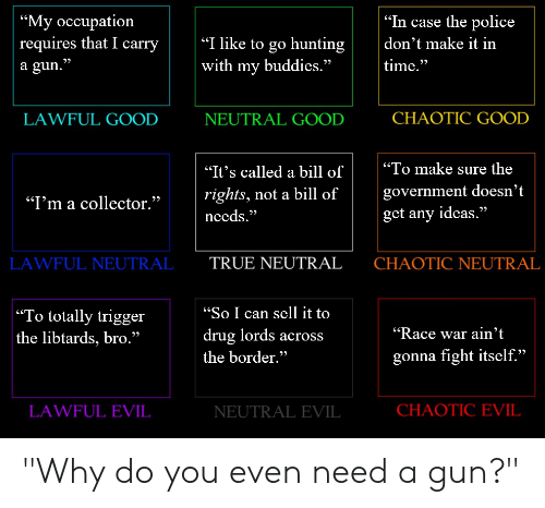 "Race War: ""My occupation  requires that I carry  a gun.""  ""In case the police  
