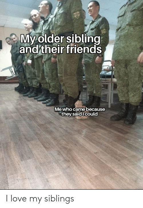 Older Sibling: My older sibling  and their friends  Mewho came because  they said Icould I love my siblings