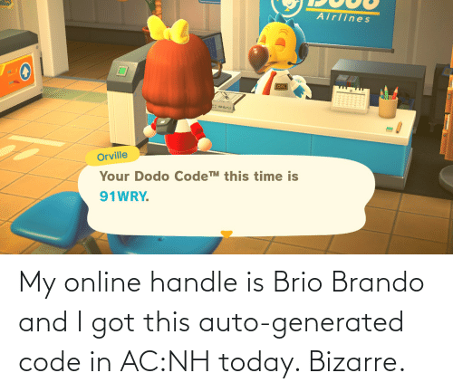 auto: My online handle is Brio Brando and I got this auto-generated code in AC:NH today. Bizarre.