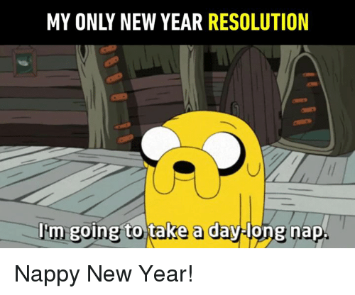 New Year Resolution: MY ONLY NEW YEAR RESOLUTION  l'm  going to take a daylong nap Nappy New Year!