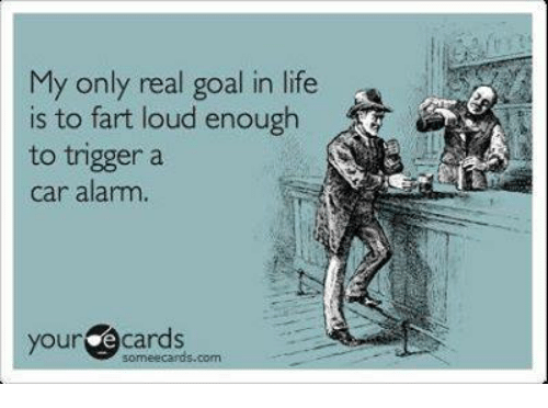 car alarm: My only real goal in life  is to fart loud enough  to trigger a  car alarm.  your  e cards  com