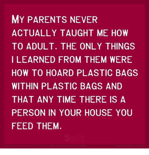 memes: MY PARENTS NEVER  ACTUALLY TAUGHT ME HOW  TO ADULT. THE ONLY THINGS  LEARNED FROM THEM WERE  HOW TO HOARD PLASTIC BAGS  WITHIN PLASTIC BAGS AND  THAT ANY TIME THERE IS A  PERSON IN YOUR HOUSE YOU  FEED THEM.